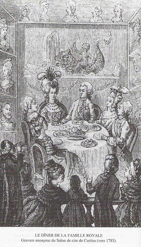 gravure anonyme, le dîner de la famille royale, salon de cire de Curtius
