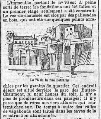 le Petit journal 31 octobre 1892 dessin du 76 rue Botzaris