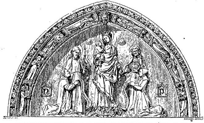 dessin du portail de Saint-Jacques de la Boucherie représentant Nicolas Flamel et dame Pernelle